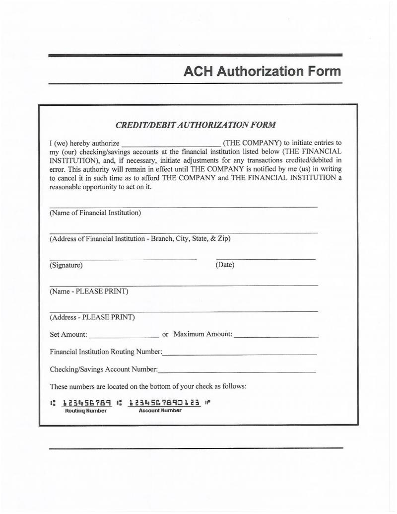 ach authorization form template